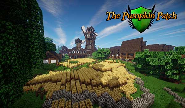 imagen donde vemos un paisaje con campos de trigo, casas y un molino. Decorado con las texturas Pumpkin Patch 1.9 y 1.8.