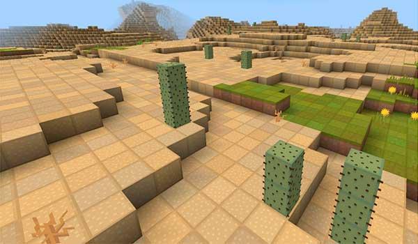 imagen donde vemos un desierto de Minecraft, decorado con el paquete de texturas visibility 1.10 y 1.9.