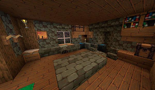 imagen donde vemos el interior de una vivienda en Minecraft, usando las texturas dustycraft 1.12 y 1.11.