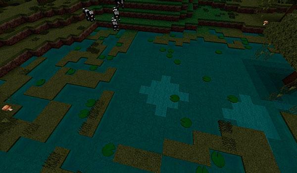 imagen donde vemos el aspecto que tiene un pantano utilizando este paquete de texturas.