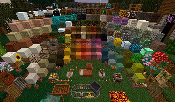 imagen aérea donde vemos el aspecto de todos los bloques y objetos del juego utilizando este paquete de texturas.