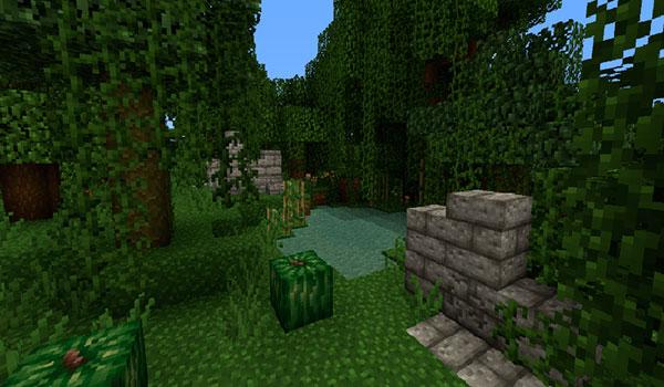imagen donde vemos unas ruinas en un bosque, utilizando el paquete de texturas Fortune & Glory Jungle Ruins.