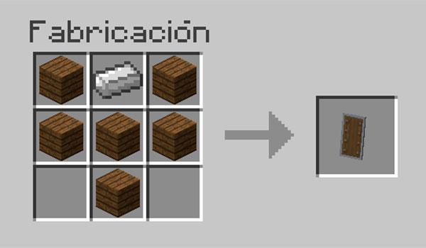imagen donde vemos todos los materiales que necesitamos y su correcta posición en la mesa de crafteo, para hacer un escudo.