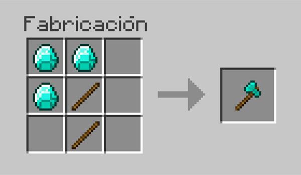 imagen donde vemos los recursos necesarios y su correcta disposición en la mesa de crafteo para hacer un hacha en Minecraft.