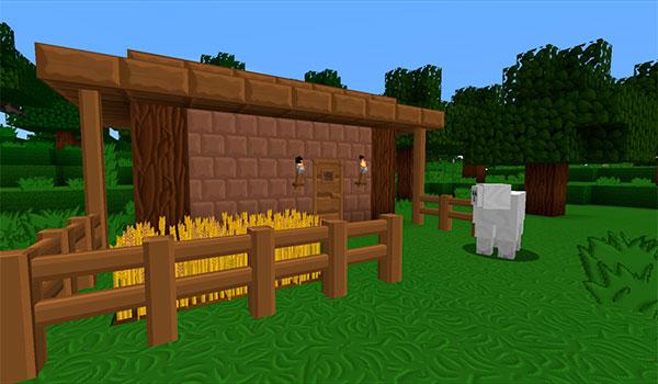 imagen donde vemos una pequeña construcción en medio de una llanura de Minecraft.