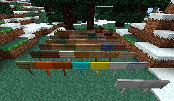 imagen donde vemos todos los nuevos carteles que podremos crear con el resto de materiales predefinidos en Minecraft.