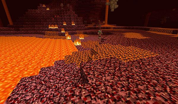 imagen donde vemos un nuevo bloque en el suelo de la dimensión del Nether.
