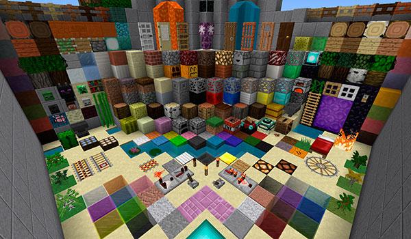 vista aérea donde vemos el diseño de las texturas de todos los bloques y objetos que existen en Minecraft.