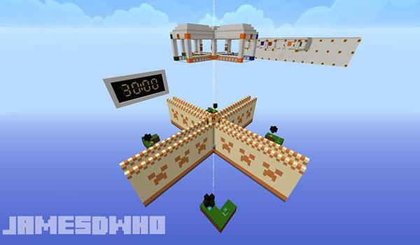 imagen aérea donde vemos las cuatro islas flotantes donde aparecen los jugadores de este mapa de PVP para Minecraft.