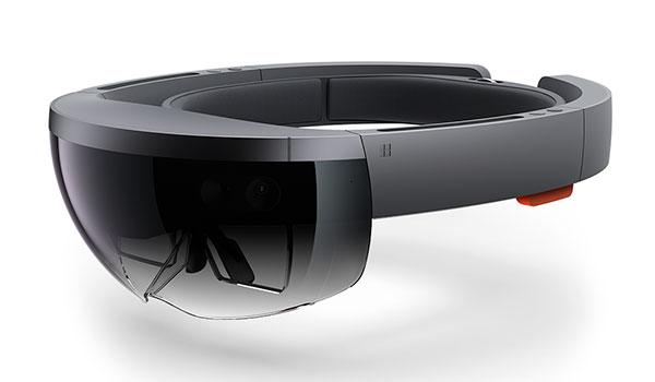 Imagen donde podemos ver la forma y los detalles de las gafas de realidad aumentada Hololens.
