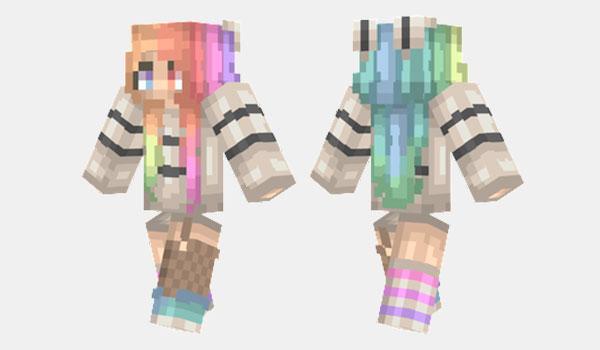 Rainbow Hair Skin para Minecraft