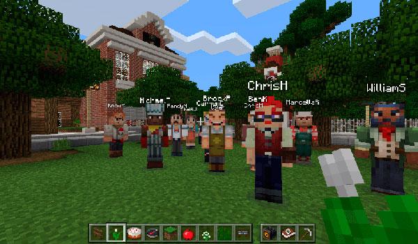 imagen de ejemplo donde vemos varios alumnos o usuarios en un mismo mundo compartido de Minecraft: Education Edition.