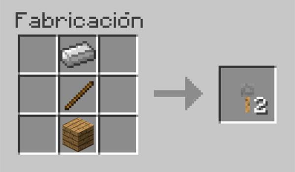 imagen donde vemos la correcta disposición de materiales en la mesa de crafteo para crear un gancho.