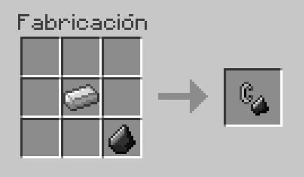 imagen donde vemos como unir el pedernal y el lingote de hierro para crear un mechero.