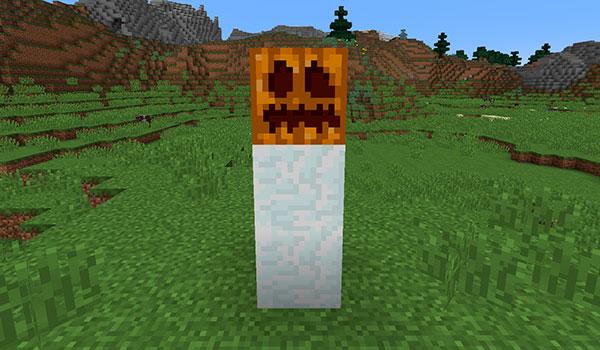 imagen donde vemos la estructura que se necesita construir para que aparezca un gólem de nieve o muñeco de nieve en Minecraft.