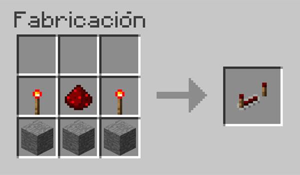imagen donde vemos los materiales necesarios y su correcta disposición en la mesa de crafteo, para hacer un repetidor de Redstone.