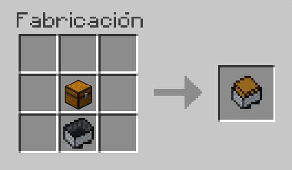 imagen donde vemos como colocar los materiales necesarios para hacer una vagoneta con cofre en Minecraft.