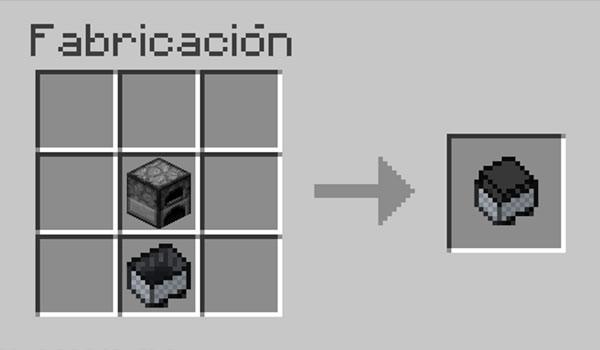 imagen donde vemos como colocar el horno y la vagoneta, en la mesa de crafteo, para hacer una vagoneta con horno.