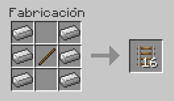 imagen donde vemos los materiales necesarios para hacer una vía normal o básica en Minecraft.