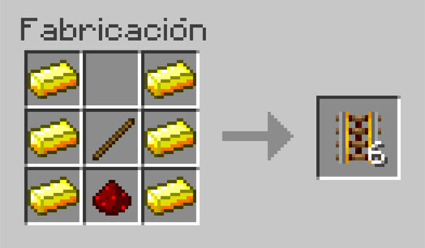 imagen donde vemos los materiales que necesitamos, así como su correcto colocación en la mesa de crafteo para hacer vías propulsoras.