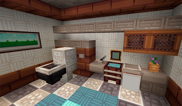 imagen del interior del baño de una vivienda en Minecraft, decorado con las texturas quadral 1.14, 1.13 y 1.12.