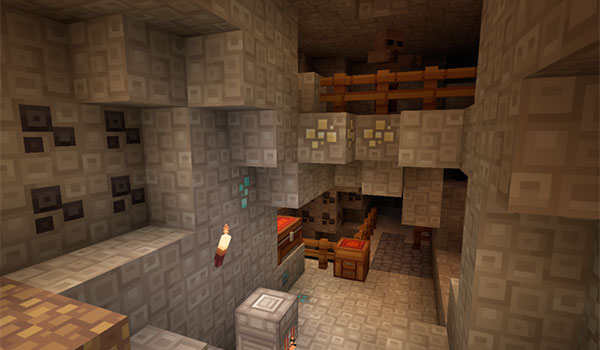 imagen que nos muestra como es el aspecto de una mina en Minecraft, utilizando el pack de texturas quadral 1.16, 1.15 y 1.12.