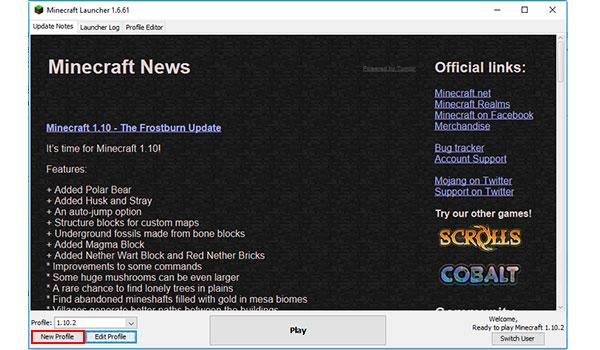 """imagen donde vemos el lanzador de Minecraft, donde debemos seleccionar la opción """"New Profile""""."""