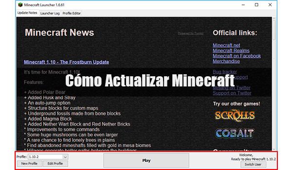 Cómo actualizar Minecraft