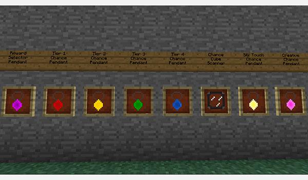 imagen donde vemos los amuletos que nos permitirán cambiar el valor de los Chance Cubes que encontremos por el mundo.