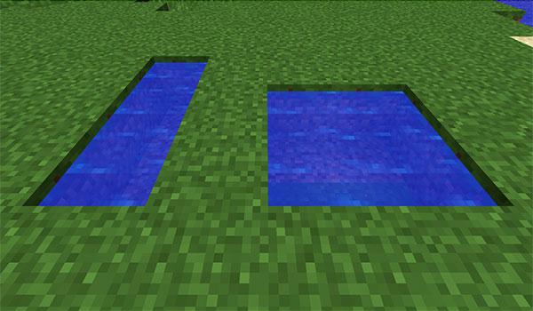 imagen donde vemos dos agujeros llenos de agua, como ejemplo de creación de agua infinita en Minecraft.
