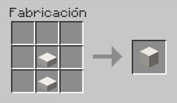 imagen donde vemos que materiales y como debemos colocarlos en la mesa de crafteo para hacer un bloque de cuarzo cincelado en Minecraft.