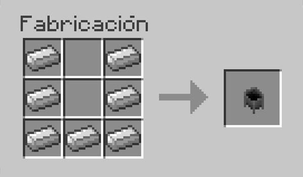 imagen donde vemos la correcta disposición de materiales en la mesa de crafteo para hacer un caldero en Minecraft.