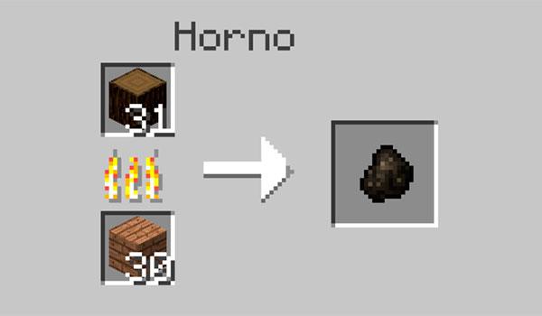 imagen donde vemos los materiales necesarios para crear carbón vegetal en un horno de Minecraft.