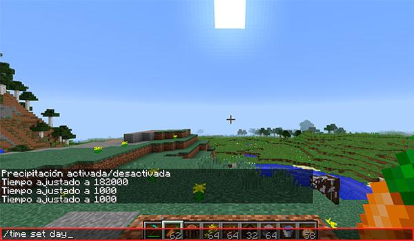 """imagen donde vemos a un jugador introduciendo el comando """"time set day"""" para hacer de día en Minecraft."""