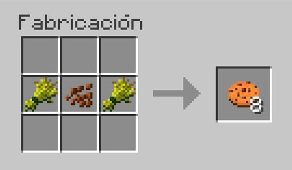 imagen donde vemos los ingredientes necesarios y como deben ser colocados en la mesa de crafteo para hacer galletas en Minecraft.