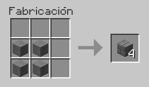 imagen donde vemos los materiales necesarios y la correcta disposición de los mismos, en una mesa de crafteo, para hacer ladrillos de piedra.