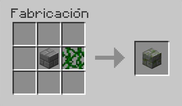 imagen donde vemos los materiales que necesitamos y como debemos colocarlos en la mesa de crafteo, para hacer ladrillos de piedra musgosa.