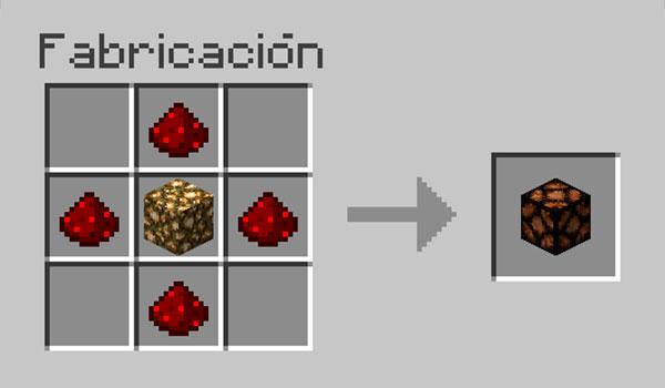 imagen donde vemos los materiales necesarios y su correcta disposición en la mesa de crafteo para hacer lamparas en Minecraft.