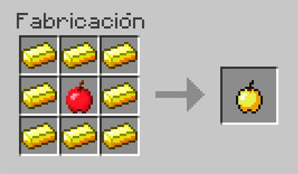 imagen donde vemos como colocar los objetos necesarios para poder crear una manzana dorada en Minecraft.