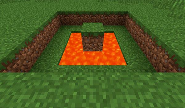 imagen donde vemos el primer paso para hacer obsidiana, que es llenar un agujero de lava que no esté en movimiento.