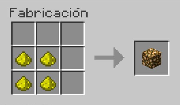 imagen donde vemos los materiales necesarios y la correcta disposición de los mismos, en la mesa de crafteo, para hacer un bloque de piedra luminosa.