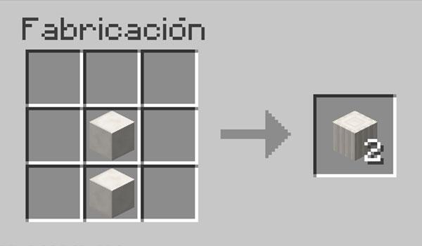 imagen donde vemos la forma correcta de colocar los materiales en la mesa de crafteo para hacer pilares de cuarzo en Minecraft.