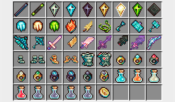 imagen donde podemos ver todos los objetos, armas, armaduras y herramientas que añade el mod gods' weapons 1.10 y 1.10.2.