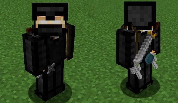 imagen donde vemos a un jugador de Minecraft, de frente y de espaldas, mostrando su traje de ninja y las armas de ninja.