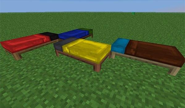 imagen de ejemplo donde podemos ver varias combinaciones de colores para las camas en Minecraft.