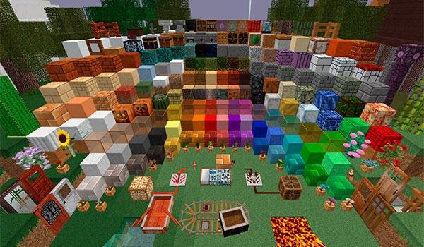 imagen donde podemos ver una exposición donde vemos la apariencia de todos los bloques y objetos del juego con estas texturas.