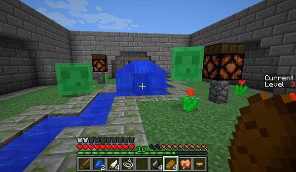 imagen donde vemos a un jugador enfrentándose a dos Slime en la arena de juego de este mapa.