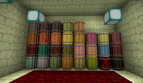 imagen donde vemos varios tipos de barriles que podremos utilizar al combinar simple barrels mod y forestry mod.