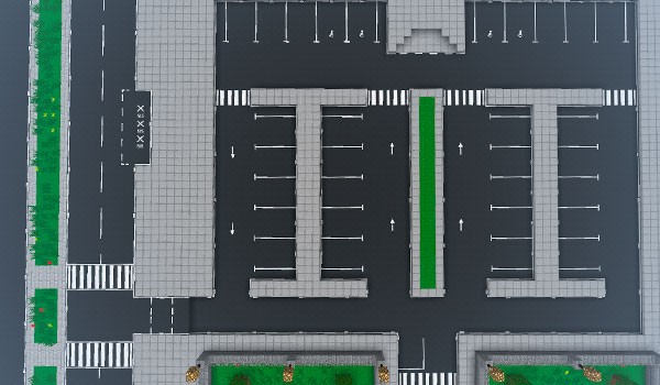 imagen donde vemos un ejemplo de un escenario urbano recreado con los bloques y objetos del mod traffic stuff mod 1.10 y 1.10.2.