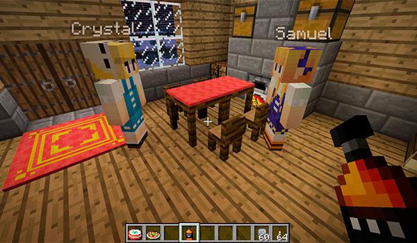 imagen donde podemos ver el interior de una vivienda con los NPC's que genera el mod village box 1.10 y 1.10.2.